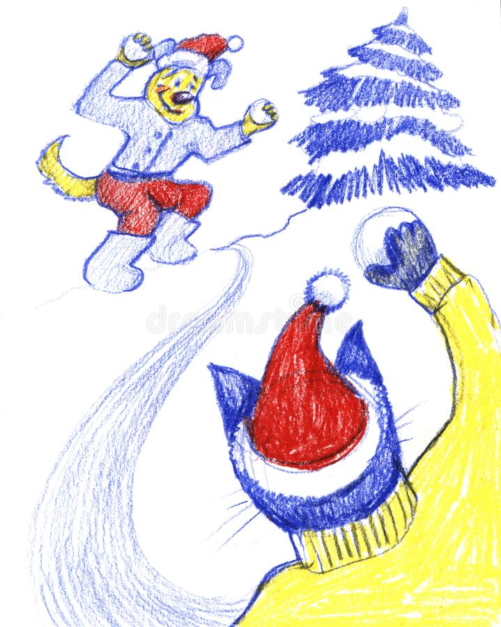 Piccoli caratteri svegli del cane e del gatto che giocano le palle di neve, divertendosi, attività di inverno, illustrazione del  fotografia stock libera da diritti