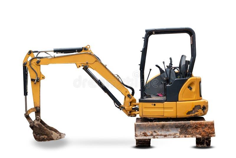 Piccoli caricatori dell'escavatore a cucchiaia rovescia con l'escavatore isolato fotografia stock libera da diritti