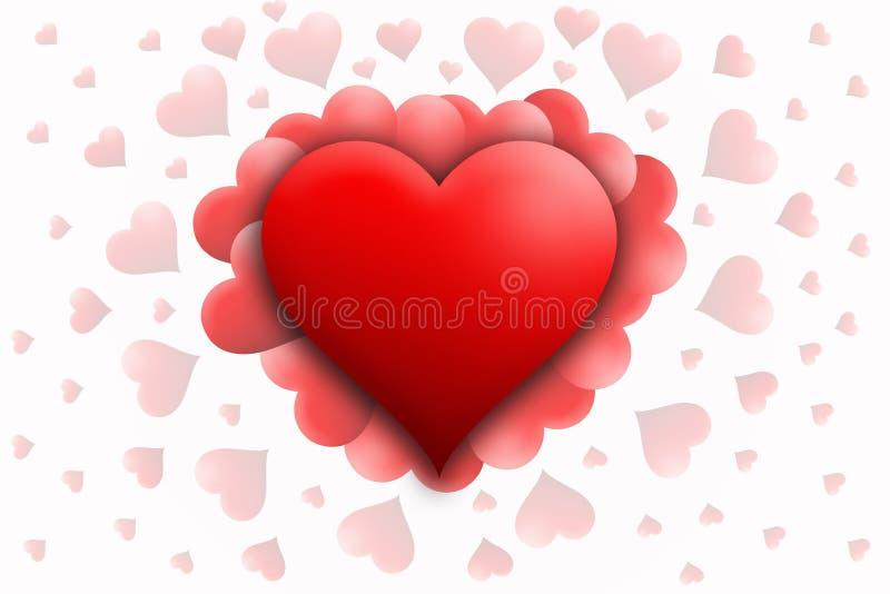 Piccoli cuori della grande parte anteriore rossa del cuore su fondo bianco Giorno felice dei biglietti di S St Fondo del bigliett illustrazione di stock