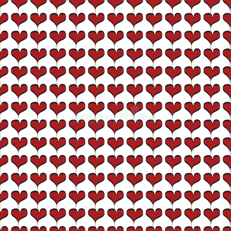 Piccoli cuori rossi con il modello senza cuciture di contorno nero royalty illustrazione gratis
