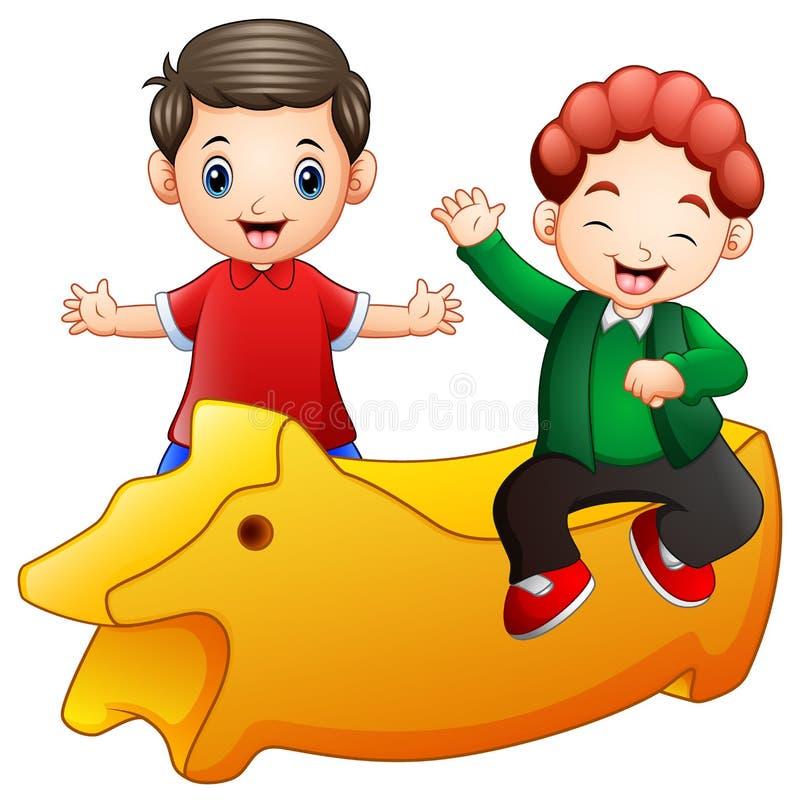 Piccoli due bambini felici con un giocattolo giallo su fondo bianco illustrazione di stock