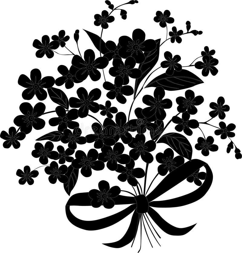 Piccoli fiori con la siluetta dell'arco royalty illustrazione gratis