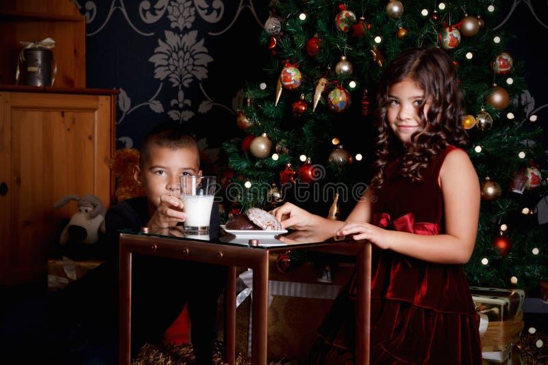 Piccoli fratelli germani che aspettano Santa Claus fotografia stock libera da diritti