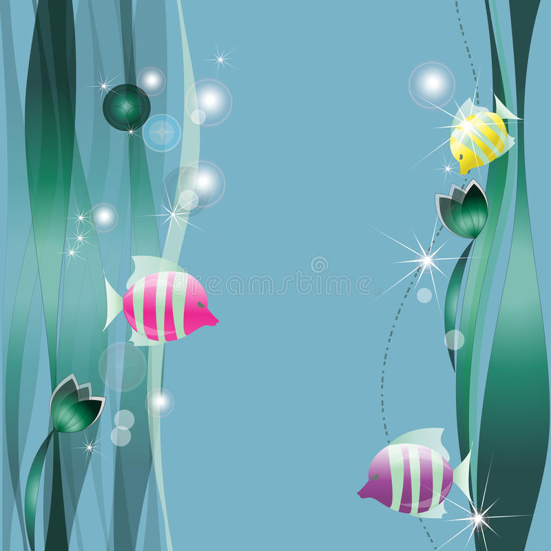 Piccoli pesci di colore fra alga illustrazione di stock