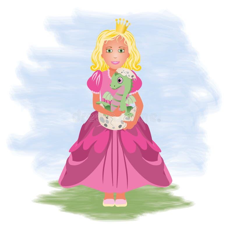 Piccoli principessa e drago illustrazione di stock
