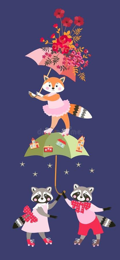 Piccoli procioni e volpe del fumetto sveglio con gli ombrelli leggiadramente isolati su fondo blu scuro Cartolina d'auguri, invit royalty illustrazione gratis