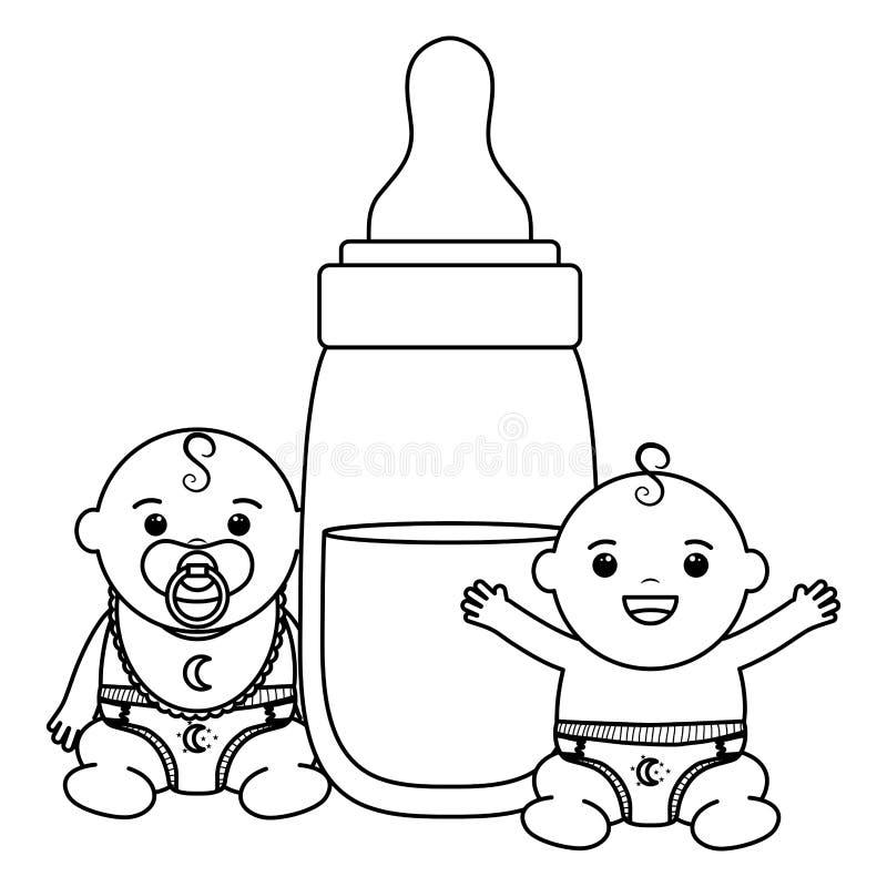 Piccoli ragazzi di bambini svegli con i caratteri del latte della bottiglia illustrazione di stock