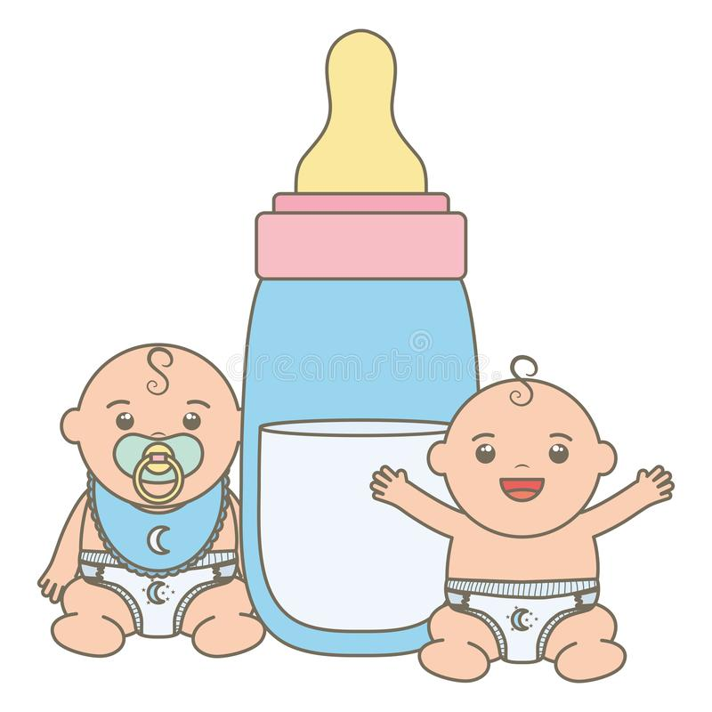 Piccoli ragazzi di bambini svegli con i caratteri del latte della bottiglia illustrazione vettoriale