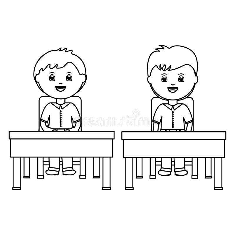 Piccoli ragazzi svegli degli studenti che si siedono nello schooldesk illustrazione vettoriale