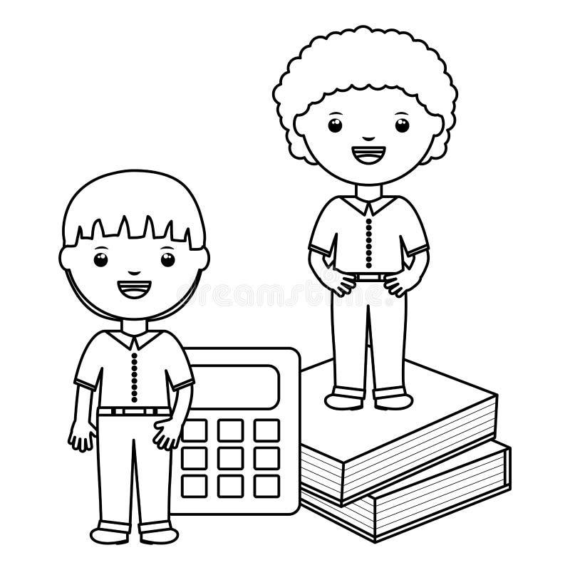 Piccoli ragazzi svegli degli studenti con i libri ed il calcolatore illustrazione di stock