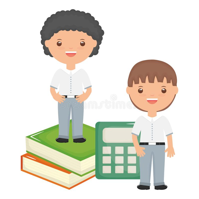 Piccoli ragazzi svegli degli studenti con i libri ed il calcolatore illustrazione vettoriale