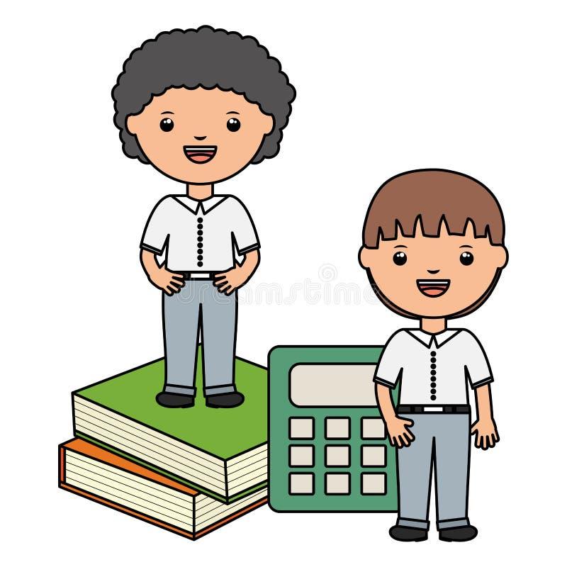 Piccoli ragazzi svegli degli studenti con i libri ed il calcolatore royalty illustrazione gratis