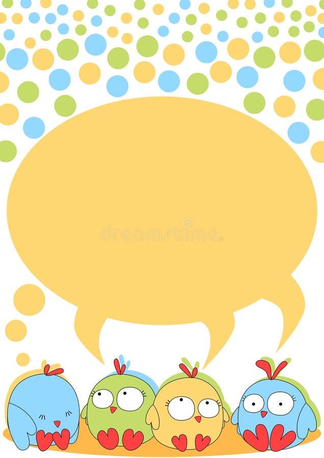 Piccoli uccelli del pulcino con discorso della bolla illustrazione di stock