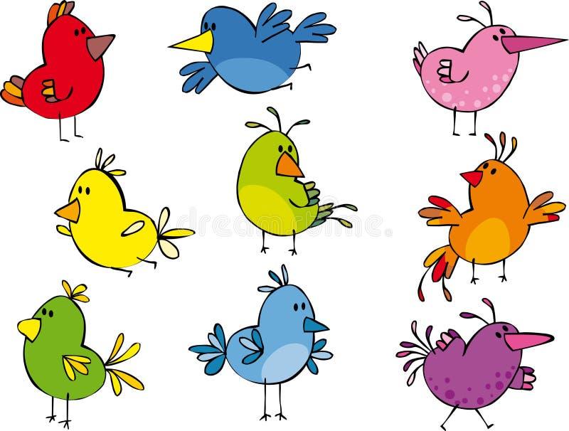 Download Piccoli Uccellini Divertenti Illustrazione Vettoriale - Illustrazione di retro, pink: 10241746