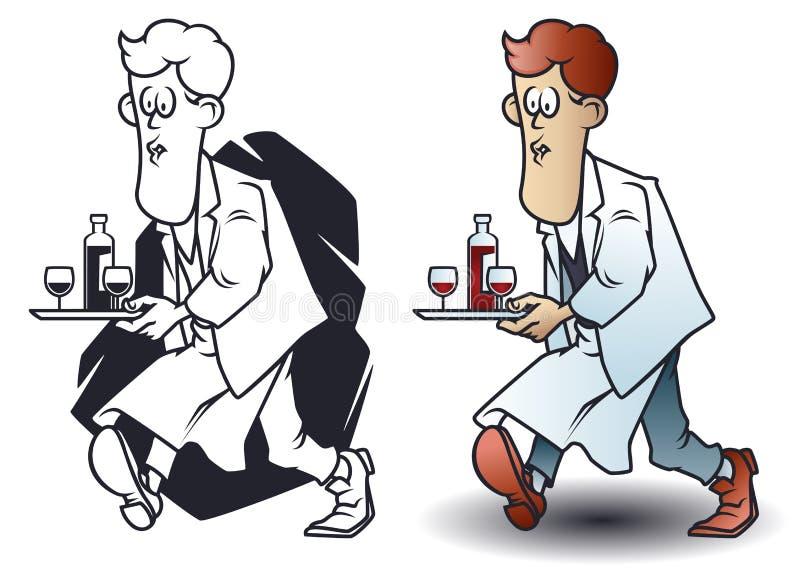 Piccoli uomini divertenti Il cameriere tiene il vassoio con vino e vetri illustrazione di stock