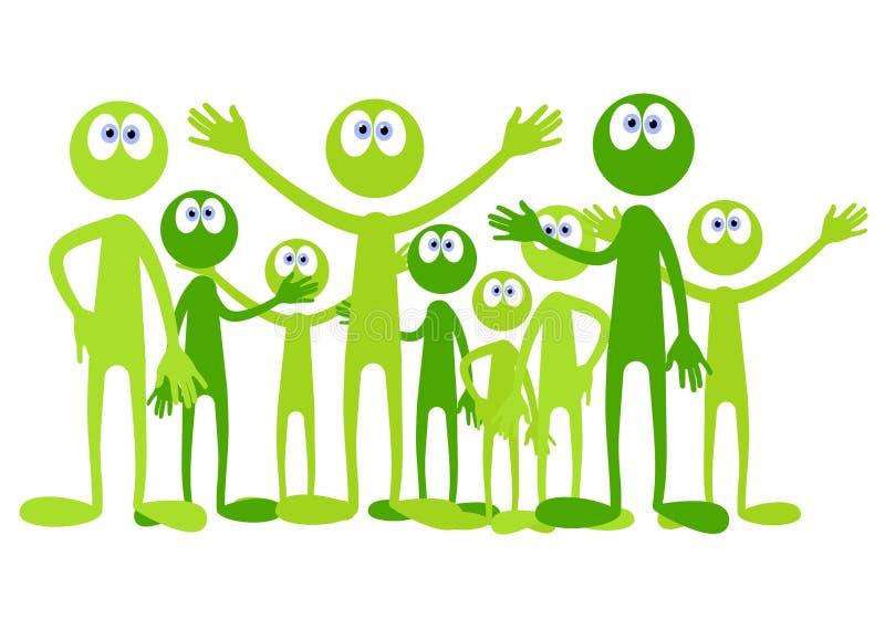 Piccoli uomini verdi del fumetto illustrazione di stock