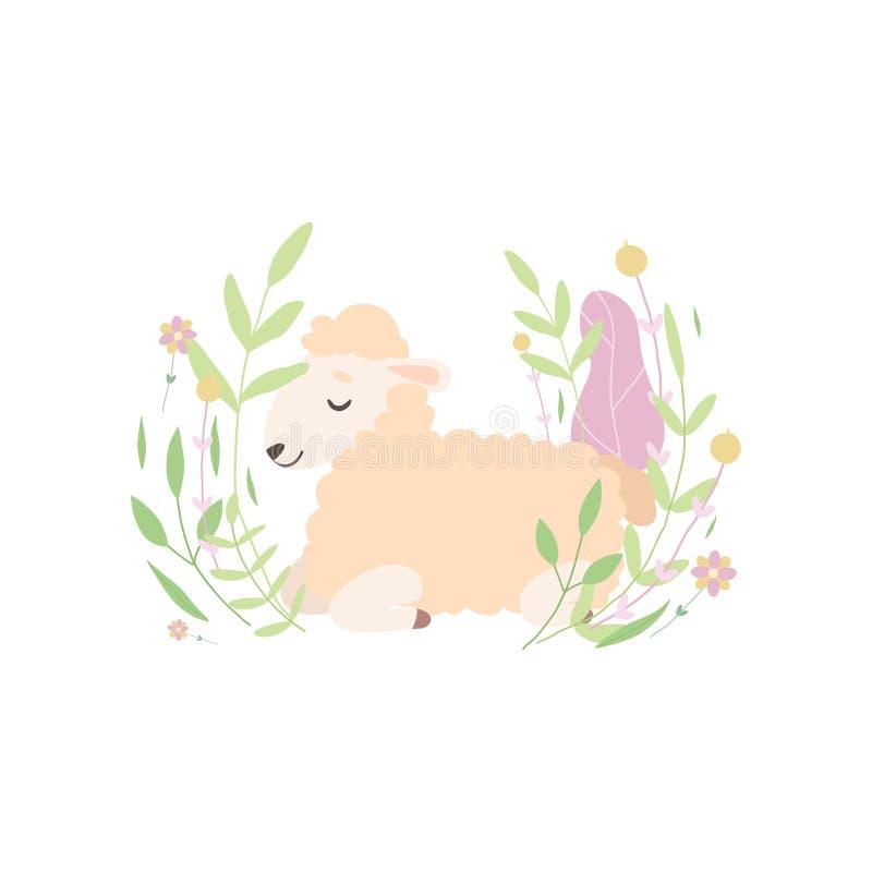 Piccolo agnello adorabile che si trova e che dorme sul bello prato della primavera, illustrazione animale di vettore delle pecore royalty illustrazione gratis