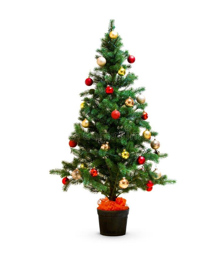 Piccolo albero di Natale decorato isolato fotografia stock libera da diritti