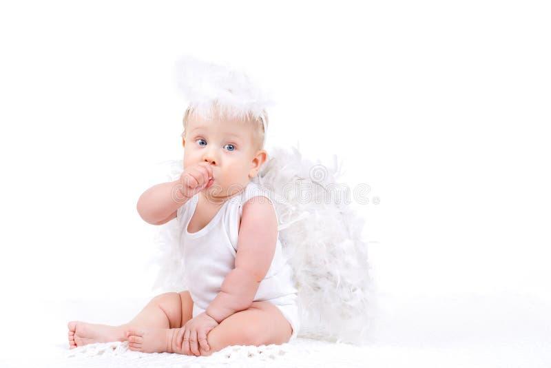 Piccolo angelo con le ali isolate sul bianco immagine stock libera da diritti
