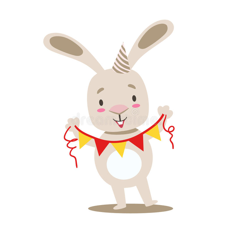 Piccolo animale domestico bianco sveglio Girly Bunny With Birthday Paper Garland su una corda, illustrazione di situazione di vit illustrazione di stock