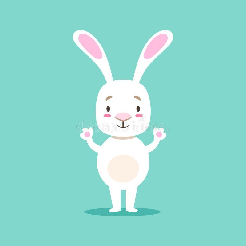 Piccolo animale domestico bianco sveglio Girly Bunny Standing, illustrazione di situazione di vita del personaggio dei cartoni an royalty illustrazione gratis