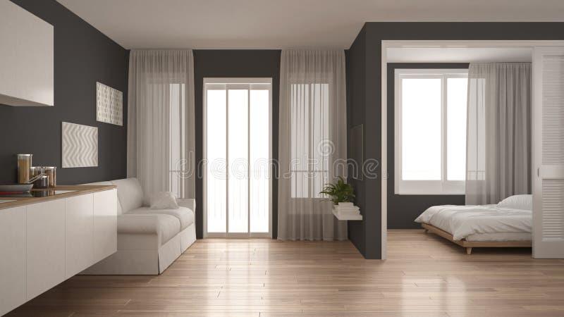 Piccolo appartamento con la cucina, il salone e la camera da letto, bianco e royalty illustrazione gratis
