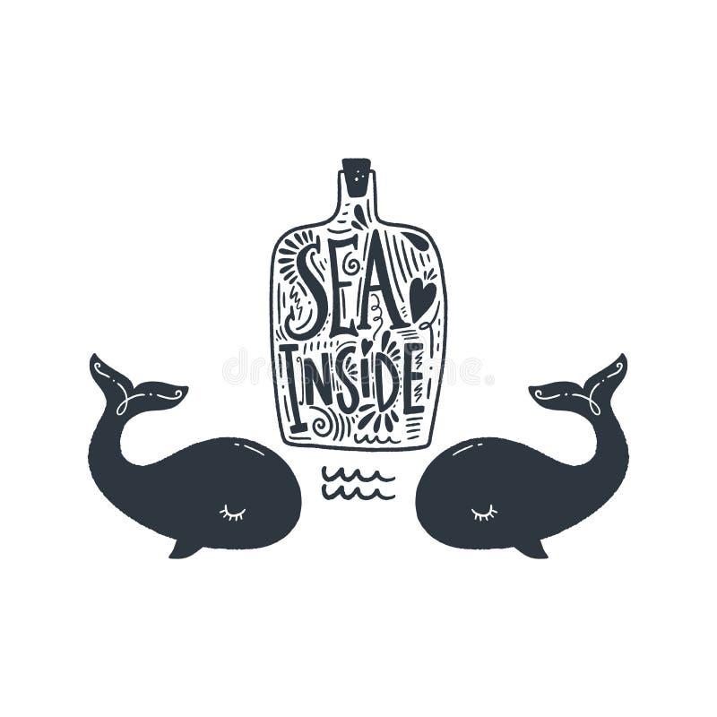 Piccolo balene e bottiglia sveglie Arte alla moda disegnata a mano della scuola materna Illustrazione di vettore illustrazione di stock
