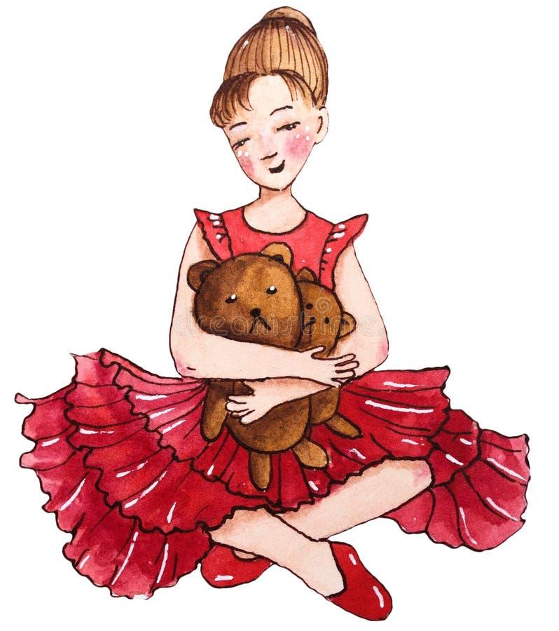 Piccolo ballerina di seduta in vestito rosso Con l'orsacchiotto royalty illustrazione gratis
