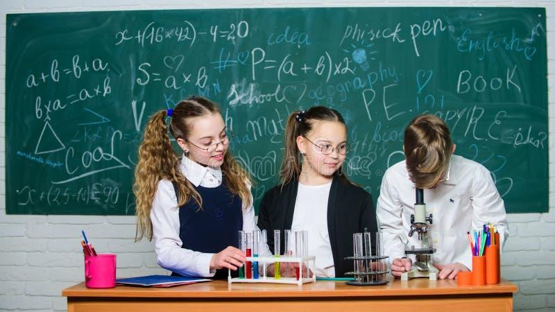 Piccolo bambini alla lezione della scuola chimica Di nuovo al banco studenti che fanno gli esperimenti con il microscopio Il gior immagine stock libera da diritti