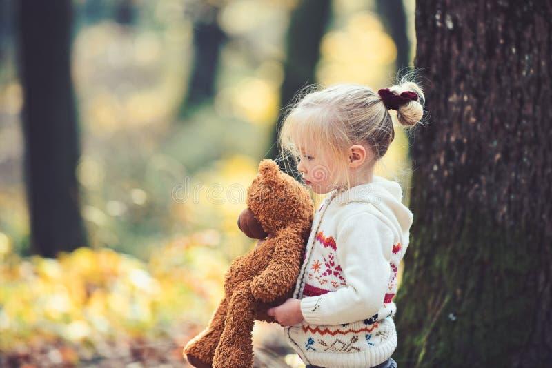 Piccolo bambino che cammina giù il percorso con l'orsacchiotto con le foglie e la luce solare di caduta che splendono nel fondo immagine stock