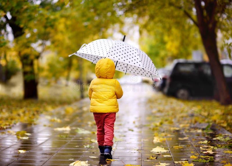 Piccolo bambino che cammina nel parco della città al giorno piovoso di autunno fotografia stock libera da diritti