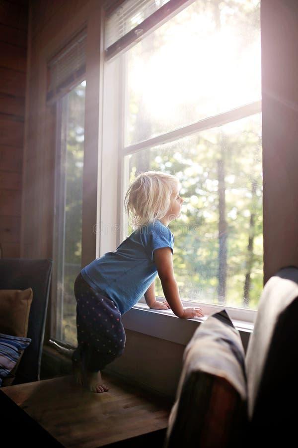 Piccolo bambino che esamina fuori finestra il legno su Sunny Morning immagine stock
