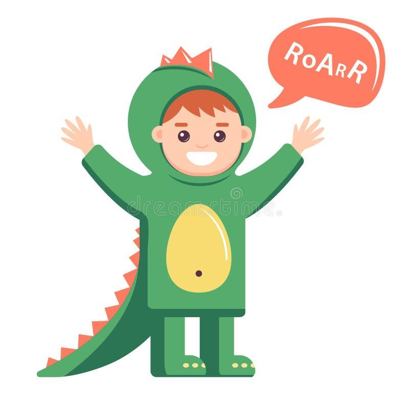 Piccolo bambino in costume del drago su fondo bianco ragazzo sveglio che descrive dinosauro illustrazione di stock
