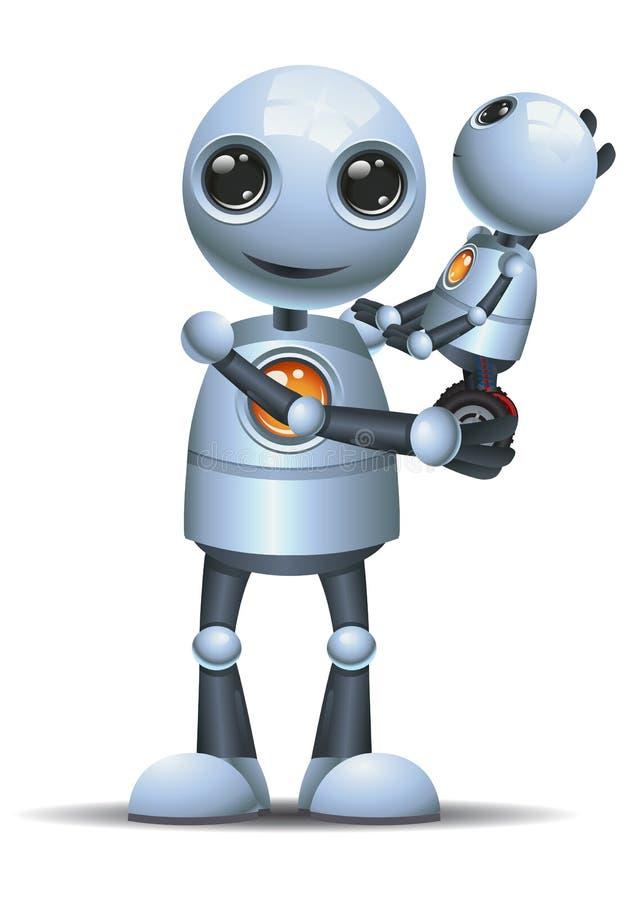 Piccolo bambino dell'abbraccio del robot su fondo bianco isolato illustrazione di stock