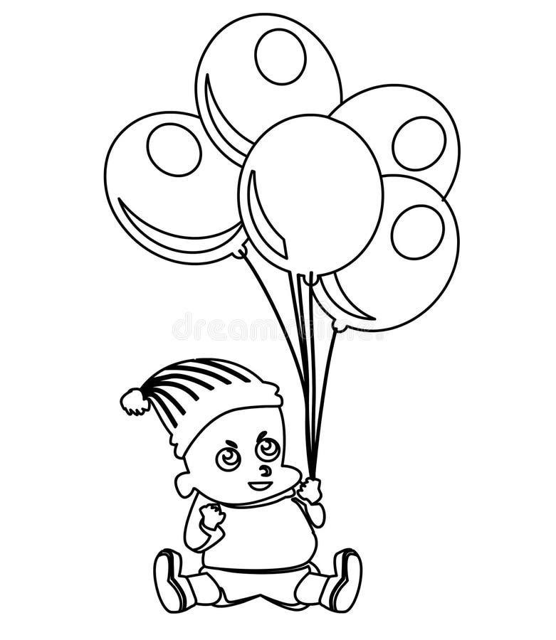 Piccolo bambino sveglio con i palloni che colorano pagina illustrazione vettoriale