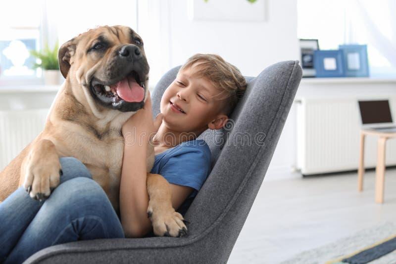 Piccolo bambino sveglio con il cane che si siede in poltrona fotografia stock