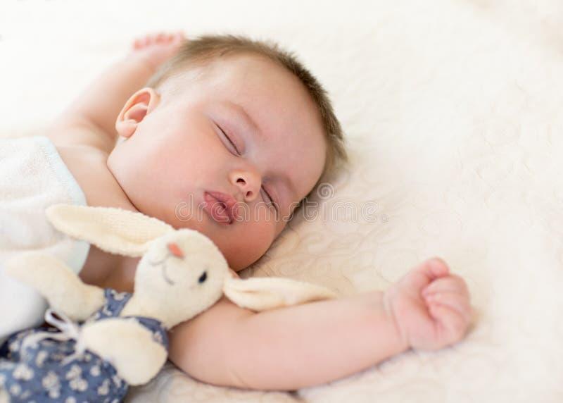 Piccolo bambino sveglio con il coniglietto del giocattolo che dorme sul letto a casa immagine stock libera da diritti