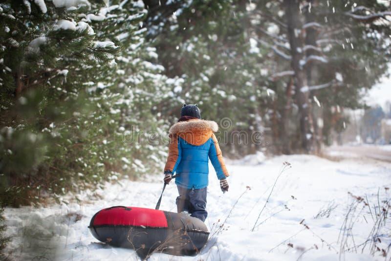 Piccolo bambino sveglio i divertendosi sul tubo della neve Il ragazzo sta guidando una tubatura Vista posteriore immagini stock