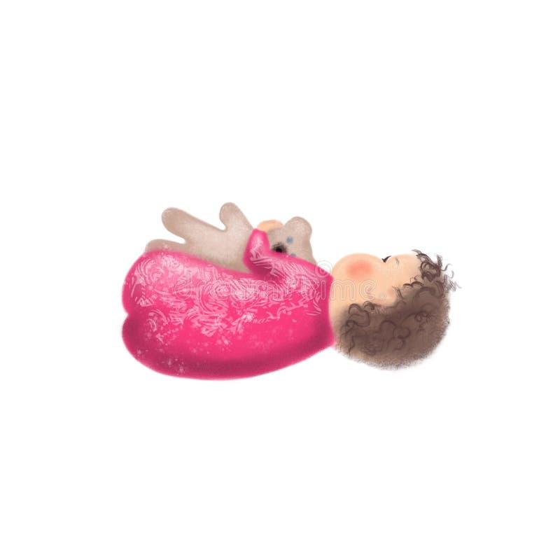 Piccolo bambino sveglio nell'orsacchiotto rosa della tenuta della tuta illustrazione di stock