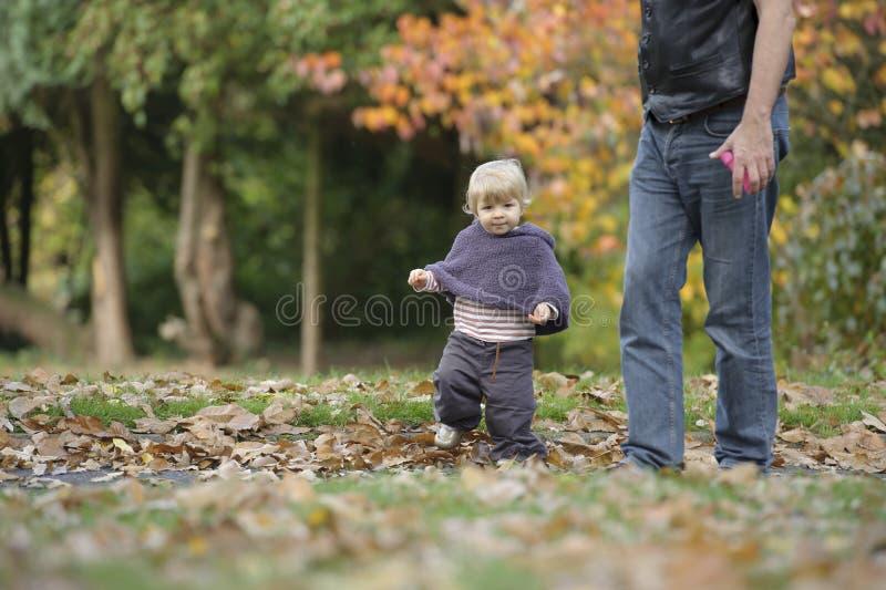 Piccolo bambino in un parco di autunno fotografia stock