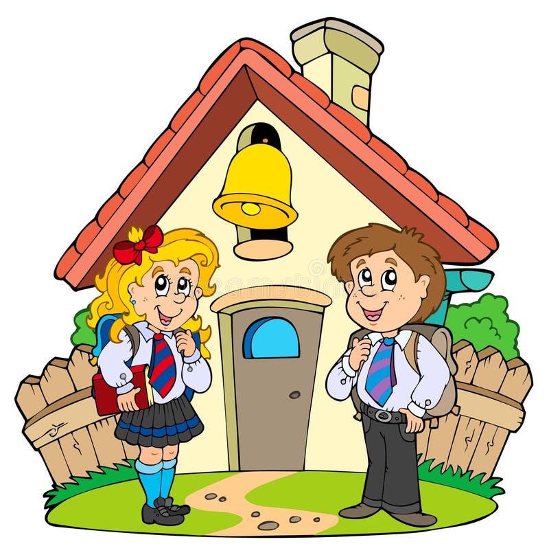 Piccolo banco con i bambini in uniformi illustrazione vettoriale