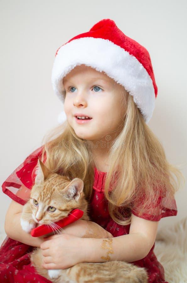 Piccolo bella ragazza in Santa Hat Red Party Dress con poco Ginger Kitten Waiting per il Natale ed il nuovo anno fotografia stock libera da diritti