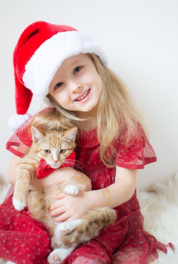 Piccolo bella ragazza in Santa Hat Red Party Dress con poco Ginger Kitten Waiting per il Natale ed il nuovo anno fotografia stock