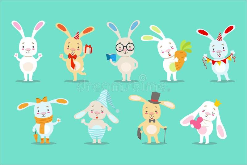 Piccolo Bunny Cartoon Character Different Activities bianco sveglio Girly e situazioni fissati delle illustrazioni di vettore illustrazione vettoriale