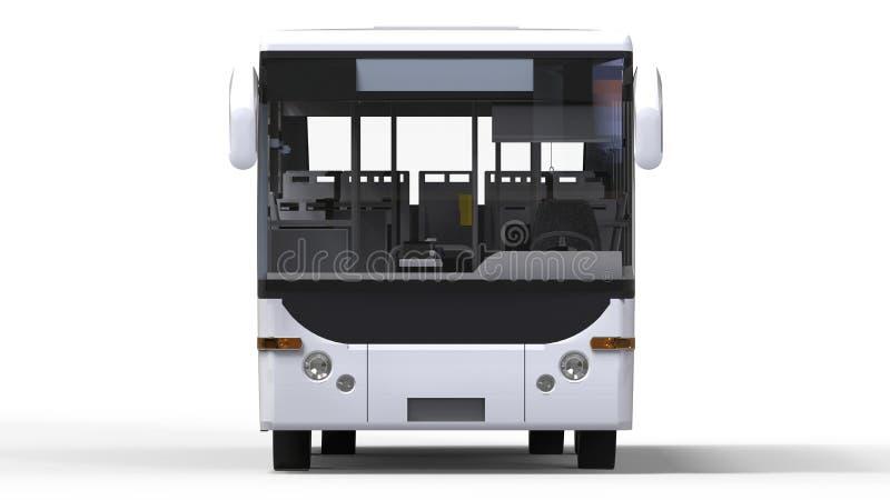 Piccolo bus bianco urbano su un fondo bianco rappresentazione 3d royalty illustrazione gratis