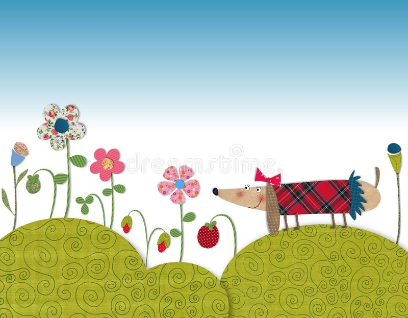 Piccolo cane che cammina sul prato di fioritura illustrazione vettoriale
