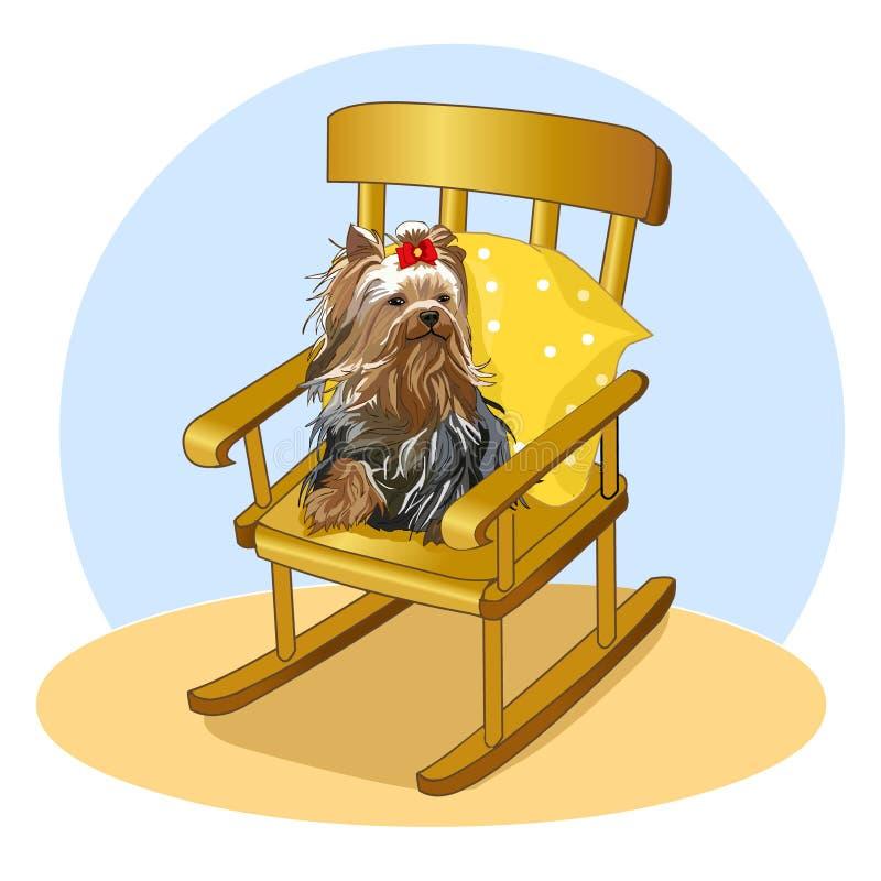 Piccolo cane con l'arco che si siede sulla sedia di oscillazione Yorkshire terrier su un cuscino Il mio animale domestico favorit illustrazione di stock