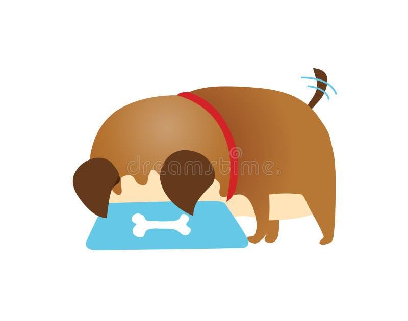 Piccolo cane lanuginoso sveglio che mangia dalla ciotola, ritratto di vista laterale, illustrazione piana di vettore del fumetto  royalty illustrazione gratis