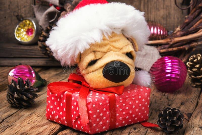Piccolo cane simbolico di Natale fotografie stock