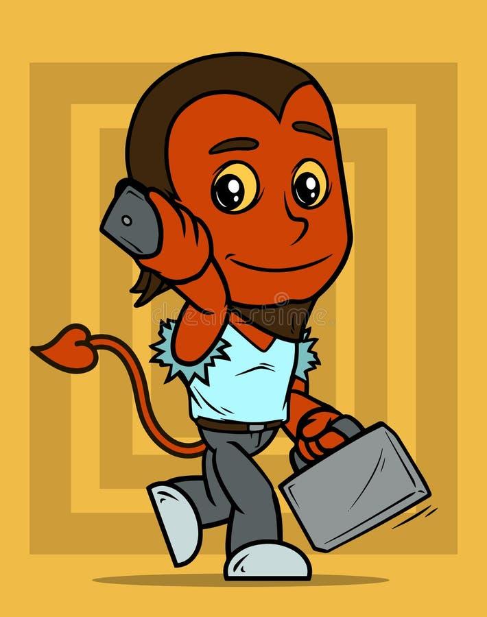 Piccolo carattere del ragazzo del diavolo rosso del fumetto con il telefono illustrazione di stock